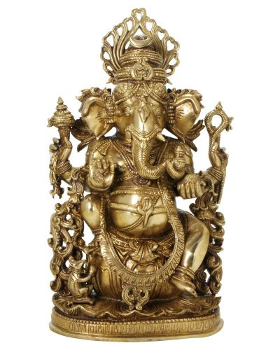 Intricate Brass Ganesh Statue, 14.5 Inches High