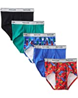 Fruit Of The Loom Little Boys' Solid  Printed Fashion Brief (Pack of 5)