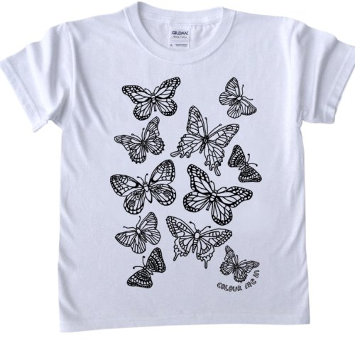 Butterflies Design T-Shirt for colouring in.