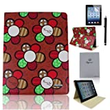 Case-online For Apple iPad 2/3/4 Luxury Pu Leather Flip Folio Stand Magnetic Cover Smart Case+Stylus+Protector - Dark Red