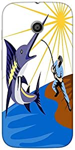 Snoogg blue marlin fish jumping retroHard Back Case Cover Shield For For Motorola E 2nd Generation / Moto E 2nd