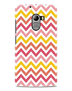 Kawach Case/Back Cover for Lenovo Vibe K4 Note + Free Tempered Glass - Chevron Stripes Red Yellow Printed Case