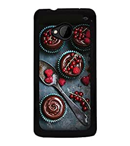 Fuson Premium Strawberries Metal Printed with Hard Plastic Back Case Cover for HTC One M7