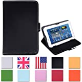HDE Tablet Case 7 Inch Universal Folio Leather Flip Cover - Black