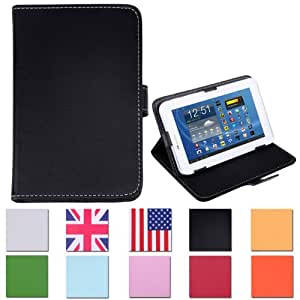 """HDE Universal 7"""" Leather Folding Folio Tablet Case Cover (Black)"""