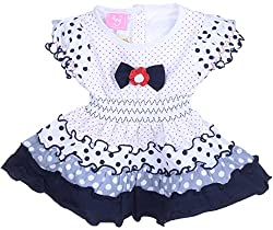 Amy Girls' Dress (F62_2_6 Months-1 Year, Navy Blue, 6 Months-1 Year) - Special Offer with Free Shipping - 100% Cotton Exclusive Kidswear