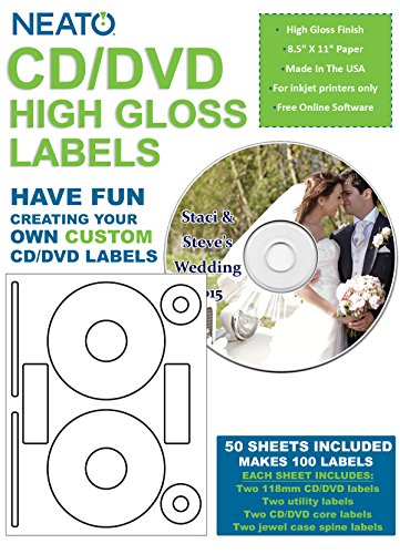 NEATO Blank High Gloss CD DVD Labels - CLP-192372 - 100 Labels (50 Sheets) - Online Design Access Code Included - Top Quality Labels