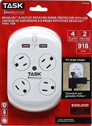 Task Tools by 360 Electrical Revolve Plus 6-Outlet Rotating Surge Protector with USB