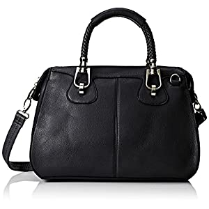 MG Collection Marissa Top Double Handle Doctor Shoulder Bag, Black, One Size
