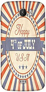 Snoogg Independence Day Greeting Card In Vintage Style Designer Protective Back Case Cover For Micromax A110