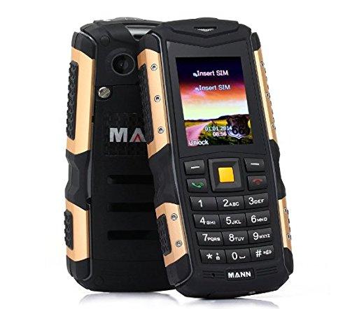 EasySMX MANN ZUG S Teléfono Móvil Impermeable de IP67 Protección contra Polvo Choque y Mala Condiciones en el Exterior con Cámara y Bluetooth Celular Barato (Oro)