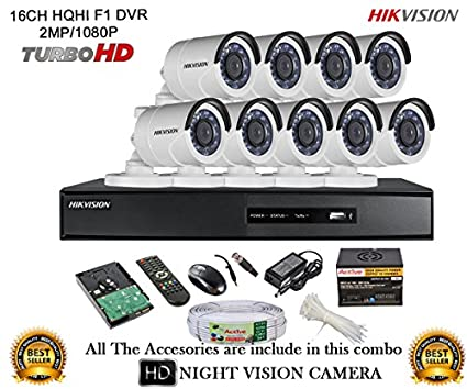 Hikvision-DS-7216HQHI-E2-16CH-Dvr,-9(DS-2CE16DOT-IR)-Bullet-Camera-(With-Mouse,-Remote,2TB-HDD,Cable-,-Bnc&Dc-Connectors,Power-Supply)