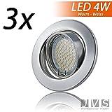 3er SET DECORO Matt-Chrom 230V LED inkl. LED 4W Warmweiß