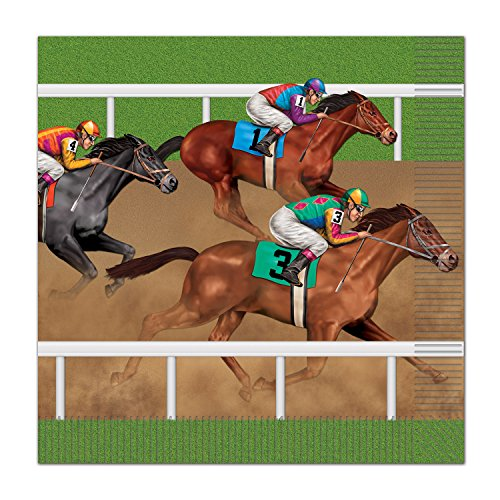 Beistle Horse Racing Luncheon Napkins, Multicolor