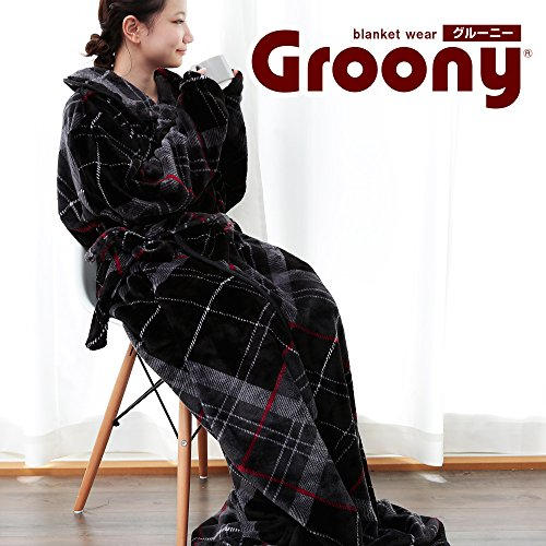 グルーニー Groony 着る毛布 袖付き毛布 ガウン 防寒 保温 節電 ロング丈 ブラックチェック