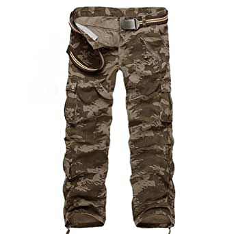 """Funoc Mens Uniform Army Cargo Pants Camo Combat Camouflage Trousers (27"""", Camob)"""