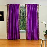 Purple 84-inch Rod Pocket Sheer Sari Curtain Panel (India) - Pair