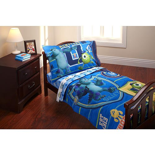 Disney Pixars Monsters University 4-Piece Toddler Bedding; Bed Set (Monster Inc Quilt compare prices)