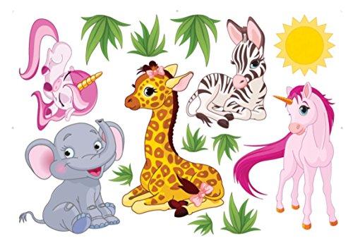 Baby-Nursery-Animal-Wall-Decals-for-Kids-Rooms-Baby-Boys-Girls-Bedroom-Peel-StickRemovable-Vinyl-Wall-Stickers-Lovely-Elephant-Giraffe-Horse-Unicorn-Zebra