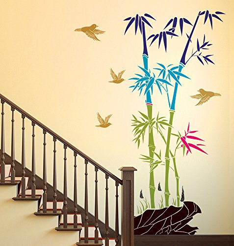 Decals Design 'Bamboo Trees with Rocks and Birds Jungle Scenery' Wall Sticker (PVC Vinyl, 50 cm x 70 cm)