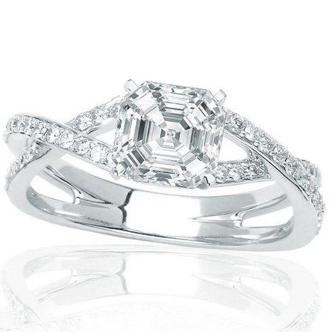 Price Comparisons 1.79 Carat Asscher Cut / Shape GIA Certified 14K White Gold Eternity Love Criss Cross Twisting Split Shank Diamond Engagement Ring ( E Color , VS1 Clarity )