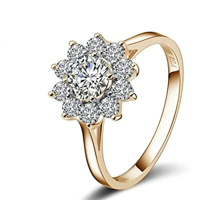 Yoursfs Apollo's Sunflower Jewellery 1CT Imitation Diamond 18k Gold Plated Solitaire Wedding Ring