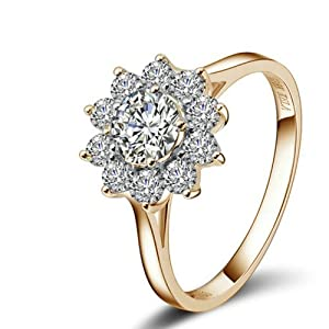 Yoursfs 18k Rose Gold Plated Sunflower Cubic Zirconia CZ Bridal Wedding Jewelry Ring (6)