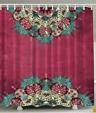 Indian Decor Mandala Nepal Hippie Abstract Artwork Hippy Traditional Psychedelic Bohemian Ethnic Grunge Pink Fuchsia Beige Red Violet Green Home Bathroom Design Fabric Shower Curtain