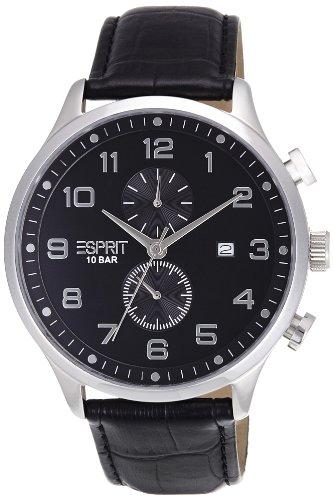 Esprit ES105581001 - Reloj analógico de cuarzo para hombre, correa de cuero color negro