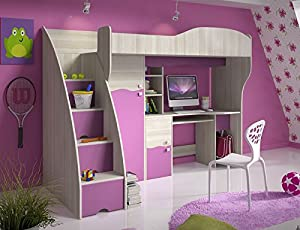 Brand New Kids Children Bedroom Cabin Bunk Bed DREAM with stairs and computer desk in Ash/Pink sold by Arthauss