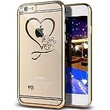 (ギジ)GIZEE iPhone 6 6S 専用 オシャレ かわいい ハート型 スワロフスキー クリスタル ソフト クリア ケース アイフォン 6S/6 対応 TPUメッキ加工 スマホ バンパー カバー (ゴールド)