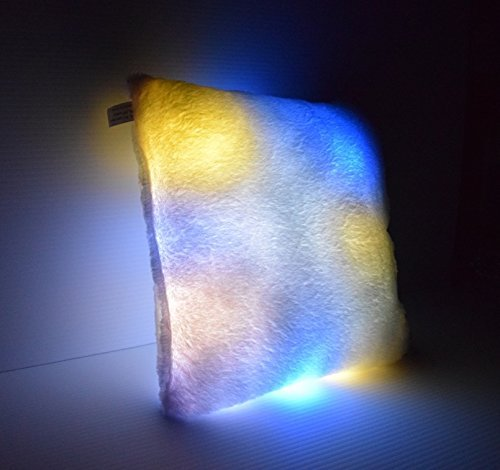 LED Light up Couch Pillow - Square Glow Pillow - Cashmere & Cotton Blend - Safe LED Lights - Auto Color Rotation - Decorative Shaped Illuminated Pillow Cushion Plush Toy