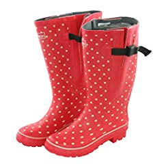 Extra Wide Fit Red and Cream Spotted Rain Boots - up to 21 inch Calf