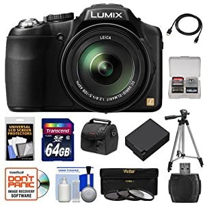 Panasonic Lumix DMC-FZ200 Digital Camera (Black) with 64GB Card + Case + Battery + 3 UV/CPL/ND8 Filters + Tripod + Accessory Kit