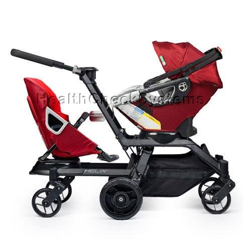 Orbit Baby Helix G2 Double Stroller with Infant Car Seat in Ruby Red