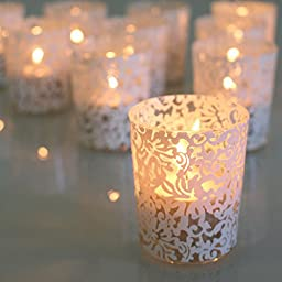 Glass Votive Holder with White Lace Print - SOLD BY DOZEN - 2.75\