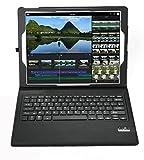 iPad Pro 9.7 インチ Bluetooth キーボード ケース【KuGi】 一体型 脱着式 良質PUレザーケース付き iPad Pro 9.7インチ 2016モデル 専用 Bluetooth キーボードケース ( ブラック )