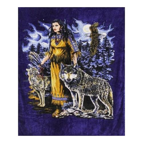 Super Plush Indian Maden w/Wolf Queen Mink Style Blankets 79x95