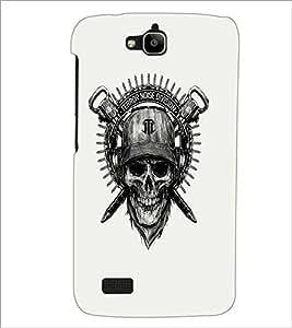 PrintDhaba Skull Designer D-1205 Back Case Cover for HUAWEI HONOR HOLLY (Multi-Coloured)
