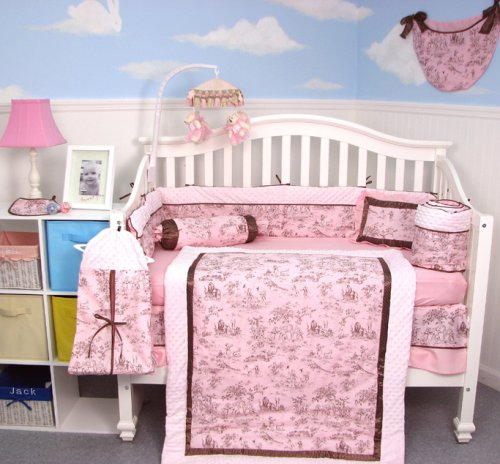 Soho Pink & Brown French Toile 10 Pcs Baby Crib Bedding Set