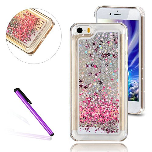 iPhone 5C Case,3D Liquid Brilliant Luxury Bling Glitter Liquid Floating Angle Girl Moving Hard Protective Case for Apple iPhone 5C (Love Balloons) (Iphone 5c Protective Glitter Case compare prices)