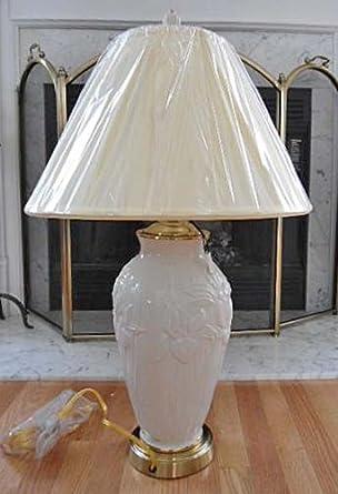 Lenox Masterpiece Iris Lamp with Ivory Fabric Shade Ceramic Body Brass