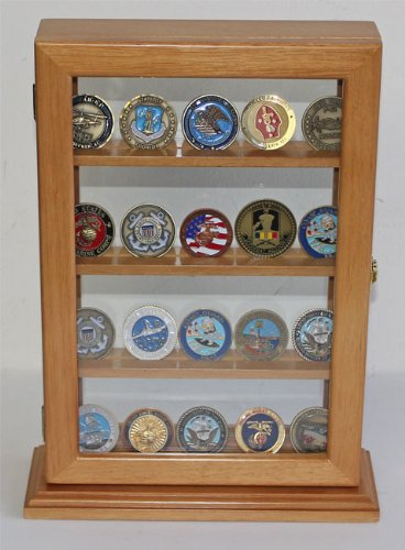 4-Shelves-Military-Challenge-Coin-or-Antique-Coin-Display-Case-Holder-Stand-Rack-w-UV-Protection-Oak-Finish-COIN14-OA