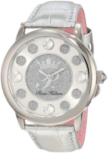 Paris Hilton Women's PH.13181JS/04 Fame Pave Glitter Silver Leather Watch