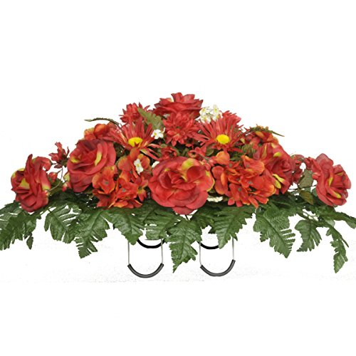 Fire Red Roses And Hydrangeas Silk Saddle Arrangement By Sympathy Silks® (Sd8003)
