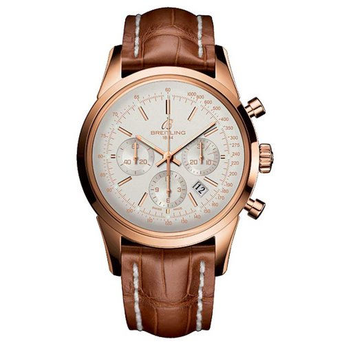 Breitling Men's Transocean 18k Gold & Croc Chronograph Watch