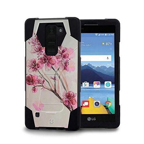 LG K8 V (Verizon) - [Cherry Blossom] Dual Armor Kickstand Case, Atom LED and 10W / 2.1A Dual Port Car Charger with Micro USB Cable (Lg 500 Phone Cases compare prices)