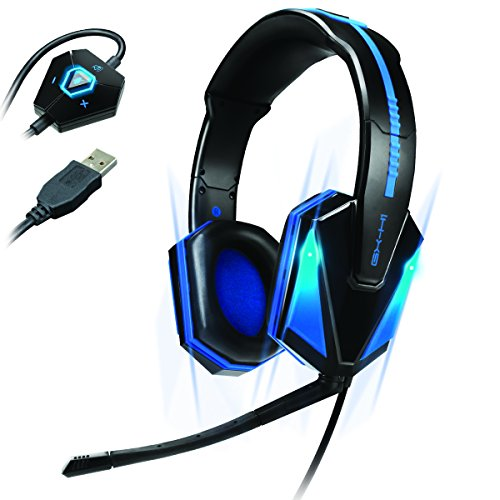 ENHANCE Headset da PC con LED blu GX-H1 con surround virtual 7.1 e controllo volume in linea - Funziona con Elite: Dangerous , Life Is Strange , World of Warcraft: Warlords of Draenor e molti altri!