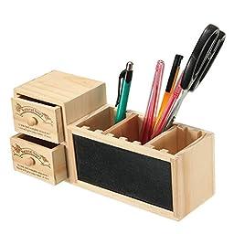 Double Drawer Blackboard Wooden Pen Holders Desktop Storage Box