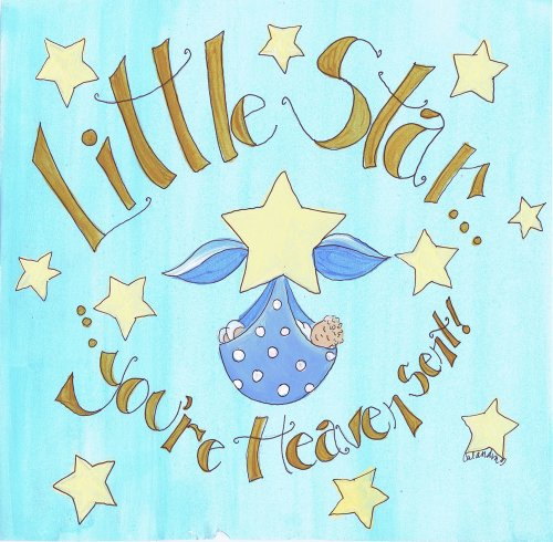 The Kids Room by Stupell Little Star You're Heavent Sent Blue Bundled Baby Oval Wall Plaque